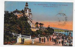 (RECTO / VERSO) MONTE CARLO EN 1923 - N° 772 - THEATRE ET TERRASSES ANIMES - TIMBRE ET CACHET DE MONACO - CPA VOYAGEE - Monte-Carlo