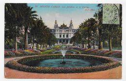 (RECTO / VERSO) MONTE CARLO EN 1912 - N° 99 - LE CASINO ET JARDINS - TIMBRE ET CACHET DE MONACO - CPA VOYAGEE - Spielbank