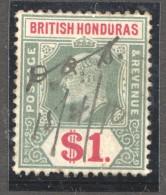 Edward VII  $1 DEfinitive  SG 91  Revenue Cancel - British Honduras (...-1970)