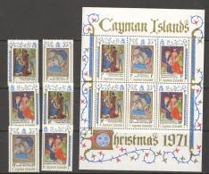 1971  Christmas Set Of 6 MM And Souvenir Sheet UM - Cayman Islands