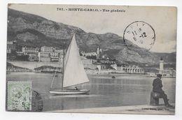 (RECTO / VERSO) MONTE CARLO EN 1910 - N° 707 - VUE GENERALE AVEC VOILIER  - TIMBRE ET CACHET DE MONACO - CPA VOYAGEE - Monte-Carlo