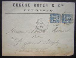 1899 Bergerac (Dordogne) Eugène Boyer Lettre Pour Saint Jean D'Angély Affranchie Gare De Bergerac - Postmark Collection (Covers)