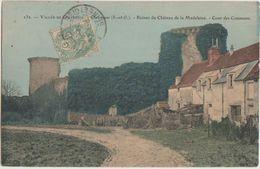 CPA 78 CHEVREUSE Ruines Du Château De La Madeleine Cour Des Communs Carte Colorisée 1906 - Chevreuse
