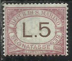 REPUBBLICA DI SAN MARINO 1897-1919 SEGNATASSE POSTAGE DUE TASSE TAXE  LIRE 5 MNH - Segnatasse