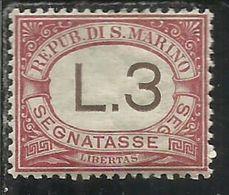 SAN MARINO 1897 - 1919 SEGNATASSE POSTAGE DUE TASSE TAXES LIRE 3 MNH OTTIMA CENTRATURA - Segnatasse