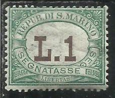 REPUBBLICA DI SAN MARINO 1924 SEGNATASSE POSTAGE DUE TASSE TAXE LIRE 1 MNH BEN CENTRATO - Segnatasse