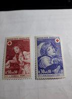 """Timbre FRANCE  1971 - Yvert 1700/1701 ** - Croix Rouge """"l'oiseau Mort"""" Et """"Jeune Fille Au Petit Chien"""" - France"""