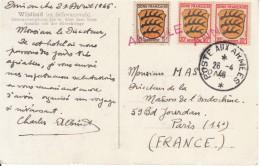 Carte Avec Timbres De Zone Francaise, Par Poste Aux Armees. Timbres Annulés. - Zona Francese