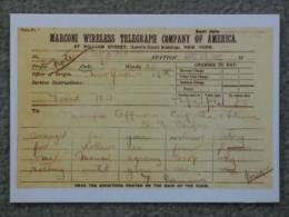 TITANIC TELEGRAM TO CARPATHIA MARCONI OPERATORS- MARINE ART 1990S NO11 - Piroscafi