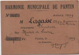 Carte D'Association/ Musique / Harmonie Municipale De  PANTIN/Membre / Mairie De Pantin/Lagasse/1939    AEC123 - Autres