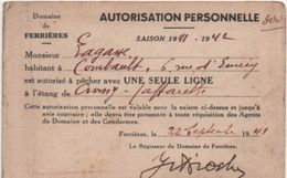Carte D'Association/Domaine De Ferriéres/Autorisation Personnelle/ Pêche à Une Seule Ligne/Lagasse/1941-1942   AEC124 - Autres