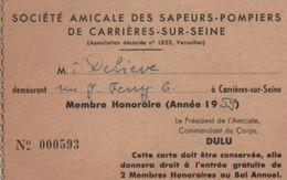 Carte D'Assoc./Société Amicale Des Sapeurs-Pompiers De Carriéres-sur-Seine/Deliéve /1959    AEC128 - Autres