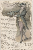 VIENNOISE (type) - Carte Gaufrée - Jeune Homme - Redingote - Chapeau Bicorne - Corbeille Myosotis - Perruque - Catogan - Uomini