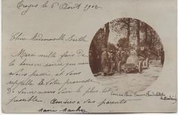 TROYES  CARTE PHOTO 1902  COURSES  AUTOMOBILE PARIS VIENNE VANDERBILTKE   CARTE EN L'ETAT  VOIR LES SCANS - Troyes