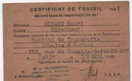 Carte De Soc/Société Anonyme De Transports Urbains Et Ruraux/Certificat De Travail/Chéze/Conducteur/Vers1942-1943 AEC129 - Autres