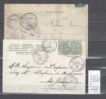 Lettres  Cachet  Convoyeur  Bordeaux à Lacanau Et Retour - 2 Piéces - Indice 12 Et 9 - Postmark Collection (Covers)