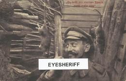 1WK Rattenjagd Im Schützengraben Humor - Guerre 14-18 Chasse Aux Rats Soldat Allemand Dans Le Tranchée 1917. - Guerre 1914-18