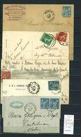 Lettres  Cachet  Convoyeur   Bordeaux  Au Verdon Et Retour - 5 Piéces - Correo Ferroviario