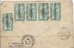 CONGO Tchad CAD FORT SIBUT-OUBANGUI-CHARI 1922 Sur 5 Timbres Moyen Congo Dont Bande De 4 Surcharge OUBANGUI CHARI TC  .G - 1858-1862 Médaillons (9/12)