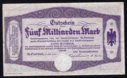 SELTEN ! - GUTSCHEIN * FUNF MILLIARDEN MARK * - HANDELSKAMMER M. GLADBACH 15 OCT. 1923 - SCHÖN ! - [11] Emissions Locales