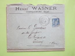 HENRI WASNER à CHARQUEMONT (25) ENVELOPPE AVEC ENTÊTE 1900 - Marcophilie (Lettres)
