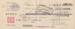 Lettre Change Mandat 1925 Violet Byrrh THUIR Pyrénées Orientales  Reynaud Hôtel St Georges De Couzan Loire Cachet Fiscal - Bills Of Exchange