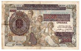Serbia 1000 Dinara 1941 German Occupation - Serbia