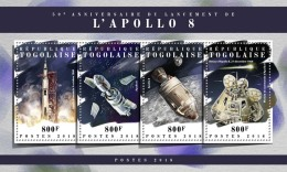 TOGO 2018 MNH** Apollo 8 Space Raumfahrt Espace M/S - OFFICIAL ISSUE - DH1808 - Raumfahrt