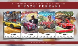 TOGO 2018 MNH** Enzo Ferrari Cars Autos Voitures M/S - OFFICIAL ISSUE - DH1808 - Autos