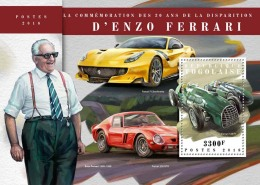 TOGO 2018 MNH** Enzo Ferrari Cars Autos Voitures S/S - OFFICIAL ISSUE - DH1808 - Autos