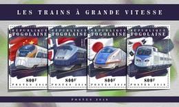 TOGO 2018 MNH** Speed Trains Schnellzüge Trains De Vitesse M/S - IMPERFORATED - DH1808 - Eisenbahnen