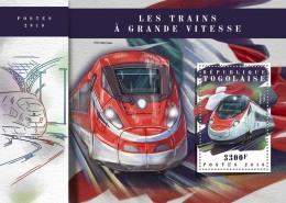 TOGO 2018 MNH** Speed Trains Schnellzüge Trains De Vitesse S/S - IMPERFORATED - DH1808 - Eisenbahnen