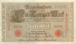 LOT DE 5 BILLETS 1000 DM  SERIE N   REICHSBANKNOTE 1910 TOUS SCANNES - [ 2] 1871-1918 : German Empire