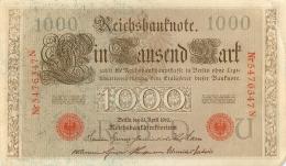 LOT DE 6 BILLETS 1000 DM  SERIE N   REICHSBANKNOTE 1910 TOUS SCANNES - [ 2] 1871-1918 : German Empire