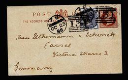 A5206) UK Karte Mit Zusfr. V. Edinburgh 23.10.86 Nach Germany - 1840-1901 (Viktoria)
