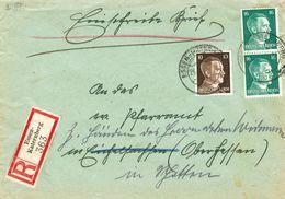 Dt. Reich 787 + 790 MiF Portogenau Auf R- Fernbrief V. Essen - Katernberg 1943 N. Schotten - Briefe U. Dokumente