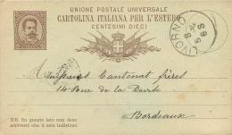 CARTOLINA ITALIANA PER L'ESTERO CENTESIMI DIECI  1882 - Italia