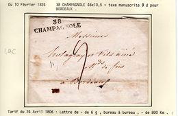 JURA : LAC  38  CHAMPAGNOLE 1824  ( Indice 8 ) - 1801-1848: Précurseurs XIX