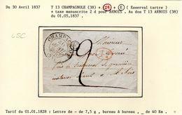 JURA :LSC  T 13 CHAMPAGNOLE 1837  + Id + Boite Rurale E - 1801-1848: Précurseurs XIX