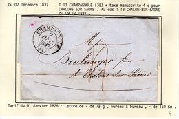 JURA :LAC  T 13 CHAMPAGNOLE 1837 - 1801-1848: Précurseurs XIX
