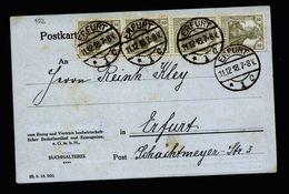 A5207) DR Orts-Karte Erfurt 11.12.18 Mit MeF 4x 2 Pfg. Germania - Deutschland