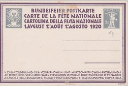SUISSE 1920 ENTIER POSTAL CARTE FETE NATIONALE THEME FROMAGE LAIT - Stamped Stationery