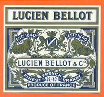 étiquette Ancienne Eau De Vie Finest French Brandy Lucien Bellot à Cognac- 39/40 °/° - Labels