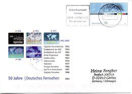 """BRD Amtl.GZS-Umschlag USo 44 """"50 J.Deutsches Fernsehen"""" MWSt. 23.12.2002 BRIEFZENTUM 02 - Buste - Usati"""