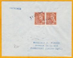 1940 - Enveloppe De Roeulx, Nord Vers Pornichet, Loire Inférieure - Griffe Linéaire - Cad De Bureau - 1921-1960: Moderne