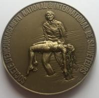 Médaille Courage. S-E-N-I-S. Société D'encourageent National Et International De Sauveteurs. Signé J. Rugenore.  95mm - Professionnels / De Société