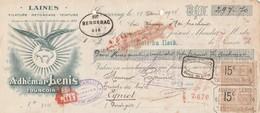 Lettre Change Mandat 18/4/1924 Lenis Laines TOURCOING Nord à Lajaunie Eymet Dordogne Timbre Fiscal - Lettres De Change