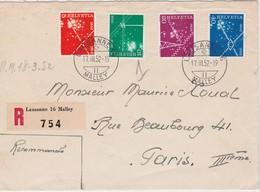 SUISSE 1952 LETTRE RECOMMANDEE DE LAUSANNE AVEC CACHET ARRIVEE PARIS - Schweiz