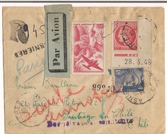 Lettre Par Avion ( Asnière )1946 Destination ( Santiago Du Chili ) Retour Envoyeur ( Gennevilliers ) - 1921-1960: Periodo Moderno