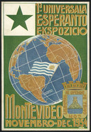 6 TOPIC ESPERANTO: Postcard Of The First International Esperanto Exhibition In Montev - Esperanto